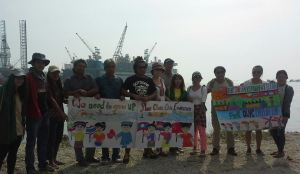 The villagers joined action with us